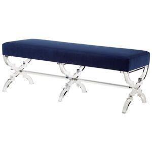 Brika Home Velvet Upholstered Bench in Navy Blue