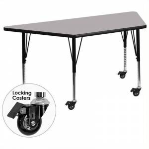 Bowery Hill 26 x 58 Trapezoidal Mobile Activity Table in Gray
