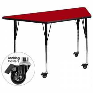 Bowery Hill 31 x 58 Trapezoidal Mobile Activity Table in Red