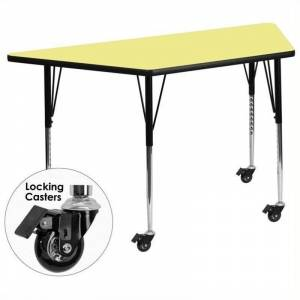 Bowery Hill 31 x 58 Trapezoidal Mobile Activity Table in Yellow