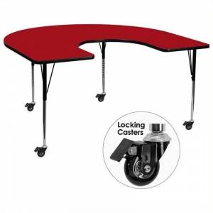 Bowery Hill 31 x 66 Horseshoe-Shaped Mobile Activity Table in Red