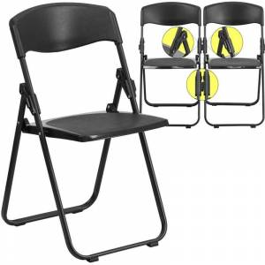 Bowery Hill Plastic Folding Chair in Black