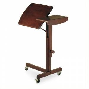 Pemberly Row Adjustable Mobile Laptop Cart in Antique Walnut