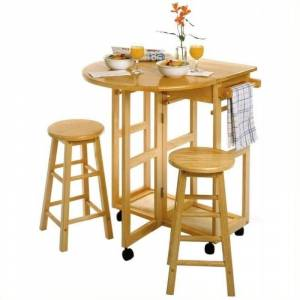 Pemberly Row Mobile Breakfast Bar/Table Set with 2 Stools in Natural