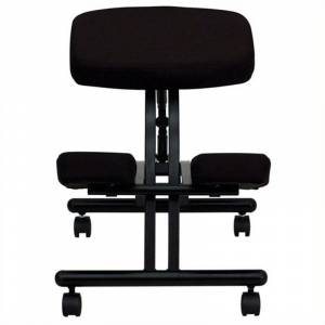 Scranton & Co Fabric Mobile Ergonomic Kneeling Office Chair in Black