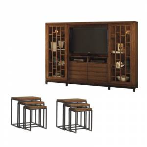 Home Square 7 Piece Living Room Set with Entertainment Center and Set of 2 Nesting Tables