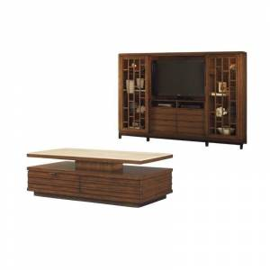 Home Square 2 Piece Living Room Set with Entertainment Center and Storage Cocktail Table