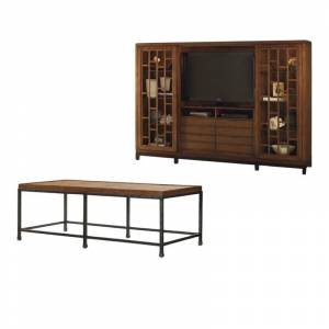 Home Square 2 Piece Living Room Set with Entertainment Center and Rectangle Cocktail Table