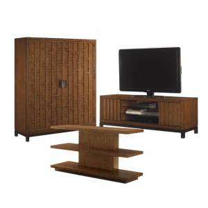 Home Square 3 Piece Living Room Set with TV STand, Gentleman's Chest and Sofa Table