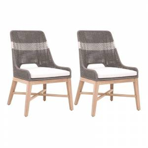 Star International Furniture Tapestry Outdoor Dining Chair in Dove Rope and Gray Teak (Set of 2)