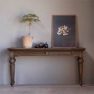 NovaSolo Furniture Hygge Solid Wood 55W Console Table in Natural Brown