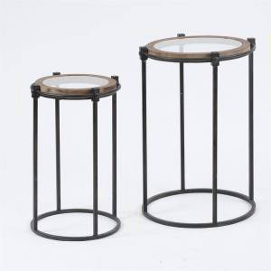 Luxen Home 2-Piece Metal and Glass Round Accent Table