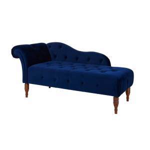 Taylor Samuel Tufted Roll Arm Chaise Lounge Navy Blue