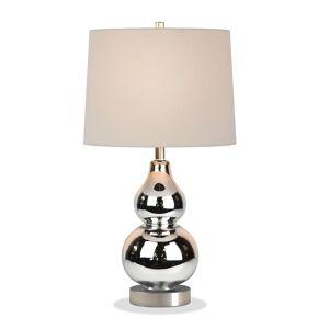 Henn&Hart 21.25 Luminary Nickel/Gray Glass  Petite Table Lamp with Fabric Shade