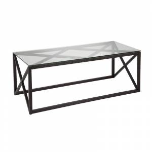 Henn&Hart 17 Art Deco Metal Black and Bronze Finish Coffee Table with Glass Top
