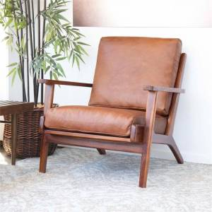 Ashcroft Mid Century Modern Kalley Brown Leather Accent Chair