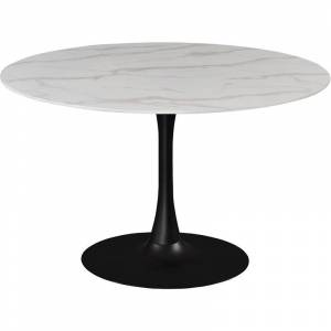 Meridian Furniture Tulip Round Faux Marble Dining Table with Matte Black Base