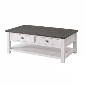 Martin Svensson Home Monterey Solid Wood 2 Drawer Coffee Table White and Gray