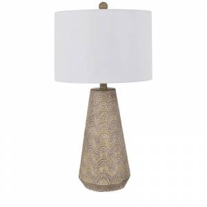 Crestview Collection Evolution by Crestview Collection Avery Embossed Resin Table Lamp in Brown