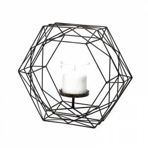 Mercana Furniture and Decor Merana Aless&ro II Large Black Metal Hexagonal Cage Table Candle Holder