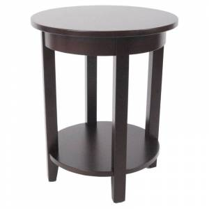 Alaterre Furniture Shaker Cottage Round Accent Table in Espresso