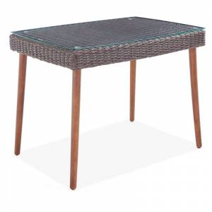 Alaterre Furniture Alaterre Athens All-Weather Wicker Outdoor 26 Cocktail Table with Glass Top