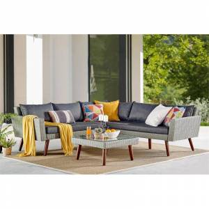 Alaterre Furniture Albany All-Weather Wicker Outdoor Gray Sofa with 29 Square Coffee Table Set