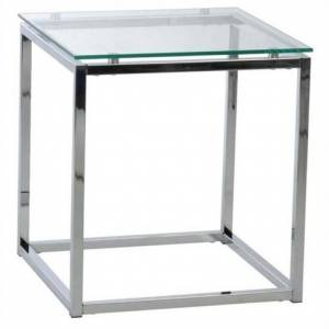 Eurostyle Sandor Square Side Table in Clear Glass