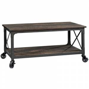 Sauder Steel River Mobile Coffee Table in Carbon Oak