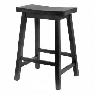 Winsome 24 Counter Saddle Seat Bar Stool in Black