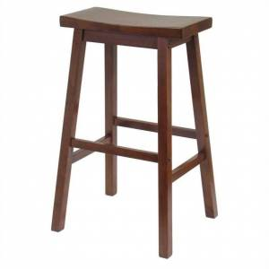 Winsome 29 Saddle Bar Stool in Antique Walnut