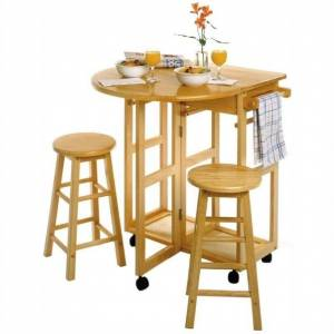 Winsome Basics Mobile Breakfast Bar/Table Set with 2 Stools in Natural