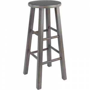 Winsome Ivy 29 Transitional Solid Wood Bar Stool in Rustic Gray