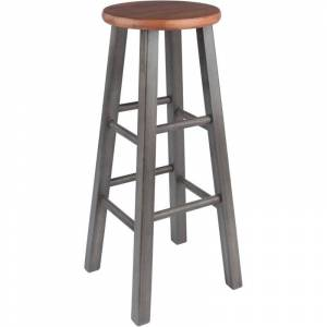 Winsome Ivy 29 Transitional Solid Wood Bar Stool in Rustic Teak and Gray