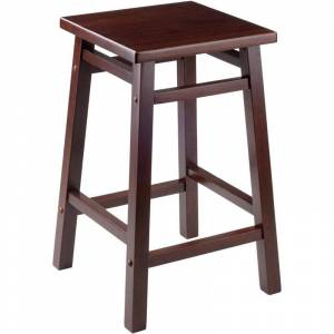 Winsome Carter 24 Transitional Square Solid Wood Counter Stool in Walnut