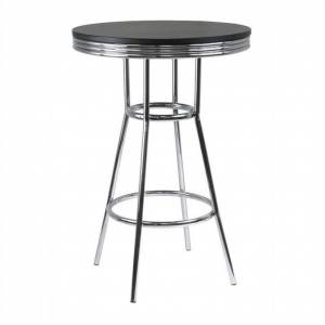 Winsome Summit 30 Round Pub Table in Black/Metal Finish
