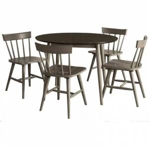 Hillsdale Mayson 5 Piece Round Dining Set in Gray and Ivory