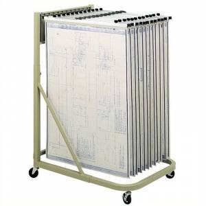 Safco Mobile Hanging Files Metal Stand for 24 Hanging Clamp for 24 x 36 Sheet in Sand
