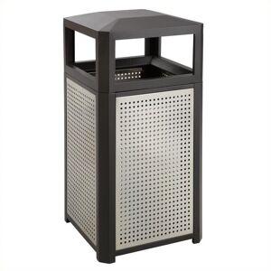 Safco Evos Outdoor/Indoor Steel Waste Receptacle Trash Can 38 Gallon Black
