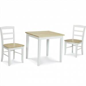 International Concepts 3 Piece Square Dining Set in White and Natural