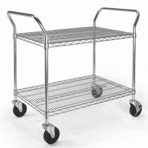 OFM X5 24 x 36 Heavy Duty Mobile Wire Metal Media Utility Cart