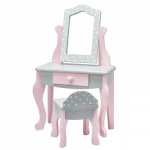 Teamson Design Olivia's Little World Princess 18 Doll Vanity Table and Chair in Gray