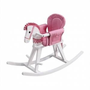 Teamson Design Fantasy Fields Hand Carved Safari White Rocking Horse with Pink Pad