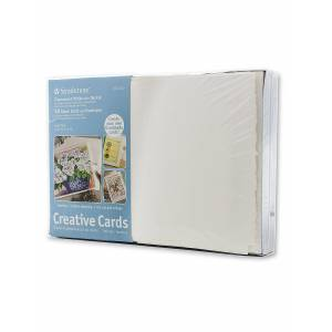 Strathmore Blank Greeting Cards with Envelopes fluorescent white with same deckle pack of 50