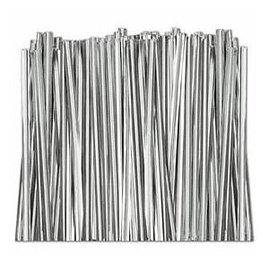 """Bags & Bows by Deluxe Silver Metallic Twist Ties, 4"""""""
