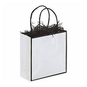 """Bags & Bows by Deluxe Whiteboard White Shoppers, 7 x 3 x 7"""""""