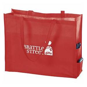 Bags & Bows by Deluxe Red Non-Woven Tote Bags, 20 x 6 x 16""