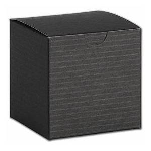 """Bags & Bows by Deluxe Black Pinstripe One-Piece Gift Boxes, 4 x 4 x 2"""""""