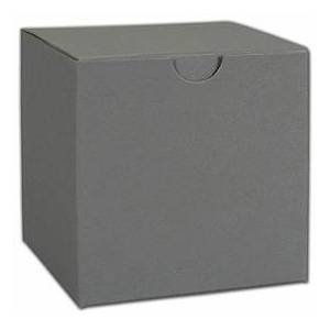 """Bags & Bows by Deluxe Grey One-Piece Gift Boxes, 4 x 4 x 2"""""""