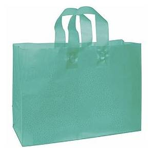 """Bags & Bows by Deluxe Teal Frosted High Density Shoppers, 16 x 6 x 12"""""""